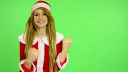 Christmas - Holidays - young attractive woman - green screen - woman dancing (da Footage