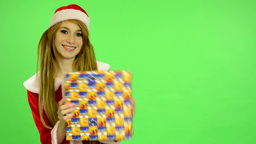 Christmas - Holidays - young attractive woman - green screen - woman jumps with  Footage