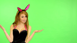 young erotic woman - green screen - portrait - sexy flirting model - studio - wo Footage
