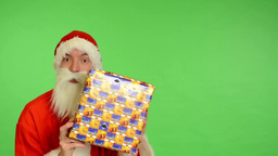 santa claus - green screen - studio - Santa Claus with gifts Footage