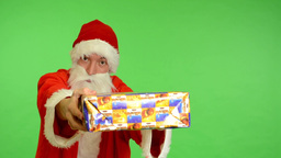 santa claus - green screen - studio - santa claus offering a gift Footage