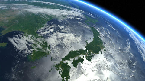 Japan from space. Japanese islands. Earth From Space Animation
