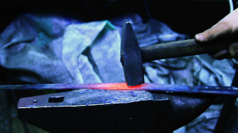 Blacksmith Forging a Knife Footage