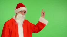 santa claus - green screen - studio - Santa Claus shows the time Footage