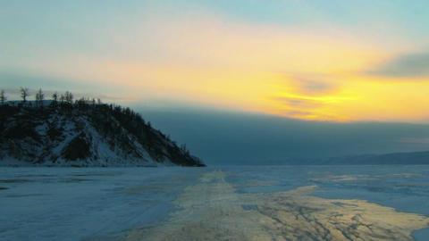 Ice Road Over Baikal Lake Footage