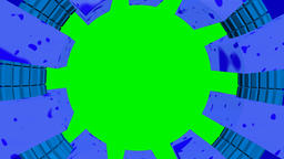 Circular frame cyan blue with chroma green screen Animation