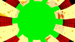 Circular frame yellow red on green screen Animation