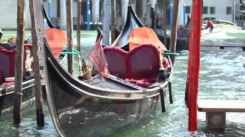Gondola boats parking. Gondola moored, Venice, Italy. Italian gondola paddle Footage