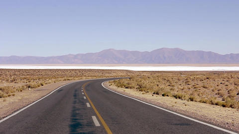 Desert Route next to a salt mine, in Argentina Live Action