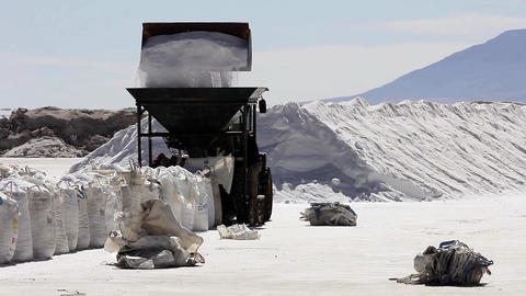Workers of the salt, filmed in Salinas Grandes, Argentina Footage