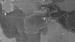 Zoom-in on Afghanistan outlined. Grayscale Animation