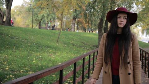 Gorgeous woman enjoying leisure in autumn park Image
