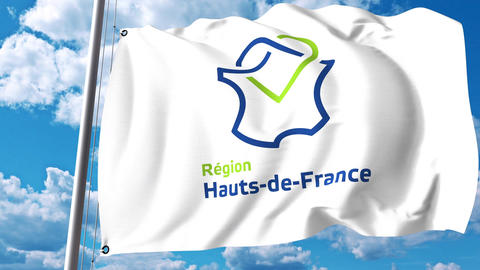 Waving flag with logo of Hauts-de-France, a region of France Live Action
