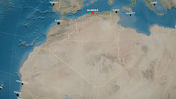 Zoom-in on Algeria outlined. Satellite Animation