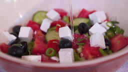 Greek salad, olive oil is added to it 画像