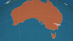 Zoom-in on Australia extruded. Administrative Animation