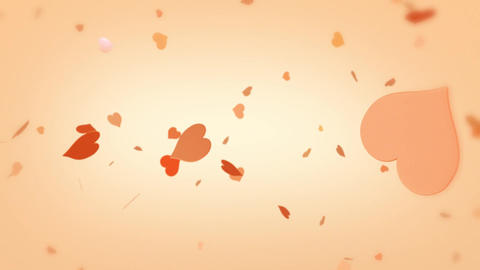 Heart background spinning hearts particles orange red Animation