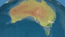 Zoom-in on Australia extruded. Topographic Animation