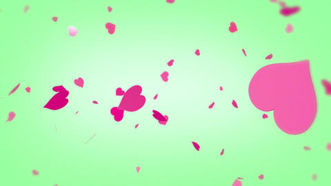 Heart background spinning hearts particles pink red green Animation
