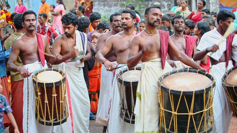 Indian Men Play on Ancient Musical Instruments at Holiday Footage