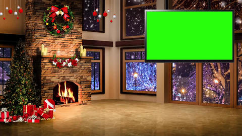 Christmas-03 Broadcast TV Studio Green Screen Background Loopable ライブ動画