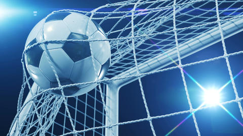 Beautiful Soccer Slow Motion Concept of the Ball flying into Goal Net. Fans Animation