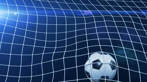 Soccer Ball flying in Goal Net in Slow Motion. Black Background and Flares Animation