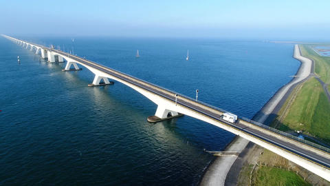 Zeelandbrug - bridge over Eastern Scheldt Footage