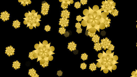 Golden flower video background with static shape and same flying particle Image