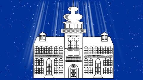 Old fairy-tale castle in blizzard, a dark blue background... Stock Video Footage