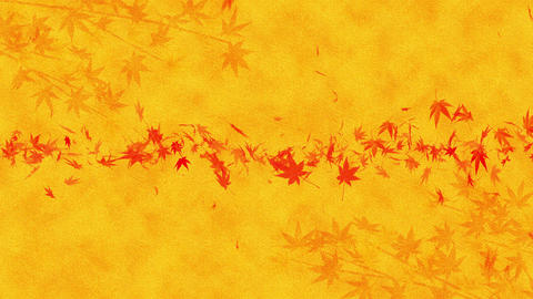 Autumn Leaves Falling on Gold Background, Maple Leaf, Loop Glitter Animation CG動画