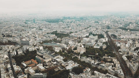 High altitude aerial panoramic shot of Paris cityscape as seen from Montparnasse Footage
