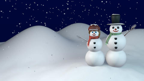 Snowing on happy snowman and snow-woman CG動画素材