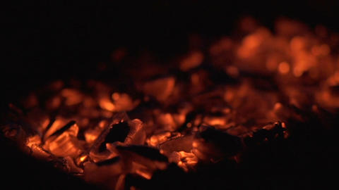 Hot red charcoals in a bonfire Footage