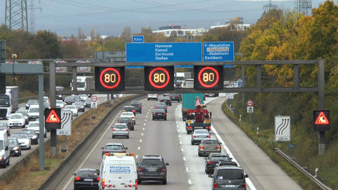 Dense traffic on German highway A5 in Frankfurt Footage