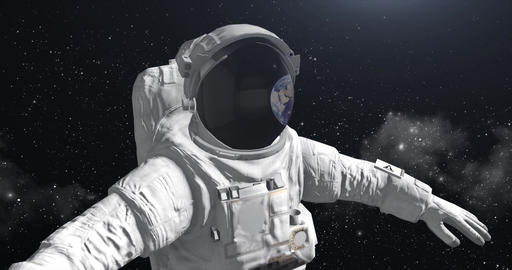 Astronaut in space looking at the ground Footage