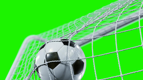 Soccer Ball flying into the Goal Net in Slow Motion. Beautiful Football 3d Animation