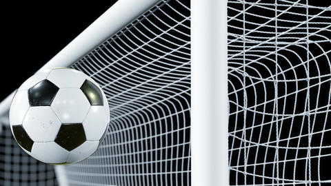 Soccer Ball Bounces Off the Bar in Slow Motion. Beautiful Football 3d animation Animation
