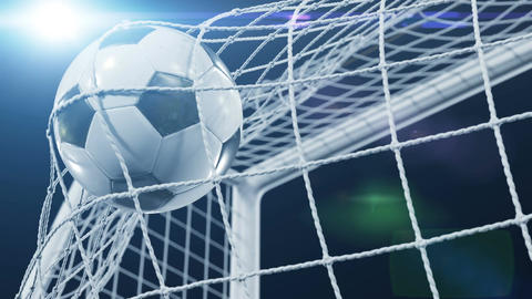 Soccer Ball flying in Goal Net and spinning in the Net in Slow Motion. Black Animation