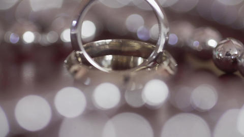 White gold wedding rings stock footage Footage