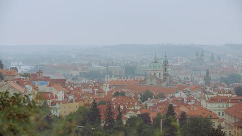 Rainy Day in Prague Panorama. Foggy morning in Prague, Czech republic Footage