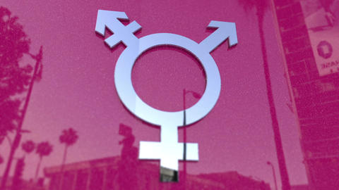 Transgender Symbol On A Pink Metallic Background Footage