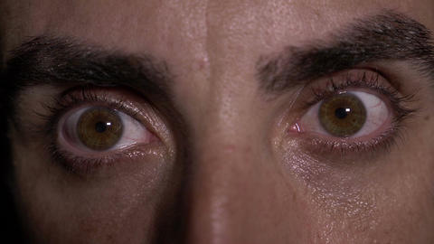 Close up with eyes of tiered man opening Footage