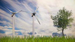 Green renewable energy concept - wind generator turbines in sky Animation
