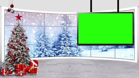 Christmas-12 Broadcast TV Studio Green Screen Background Loopable ライブ動画
