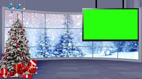 Christmas-14 Broadcast TV Studio Green Screen Background Loopable ライブ動画