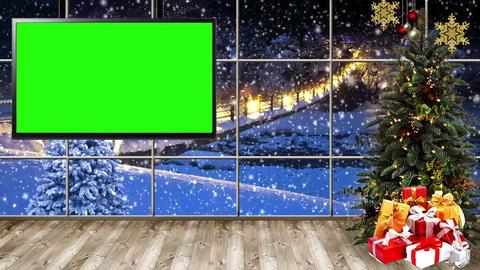 Christmas-16 Broadcast TV Studio Green Screen Background Loopable ライブ動画