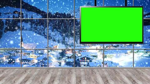 Christmas-20 Broadcast TV Studio Green Screen Background Loopable ライブ動画