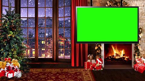 Christmas-25 Broadcast TV Studio Green Screen Background Loopable ライブ動画