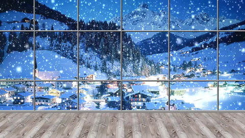 Christmas-19 Broadcast TV Studio Green Screen Background Loopable Footage